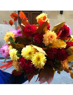 Autumn bouquet with strong colours dahlias
